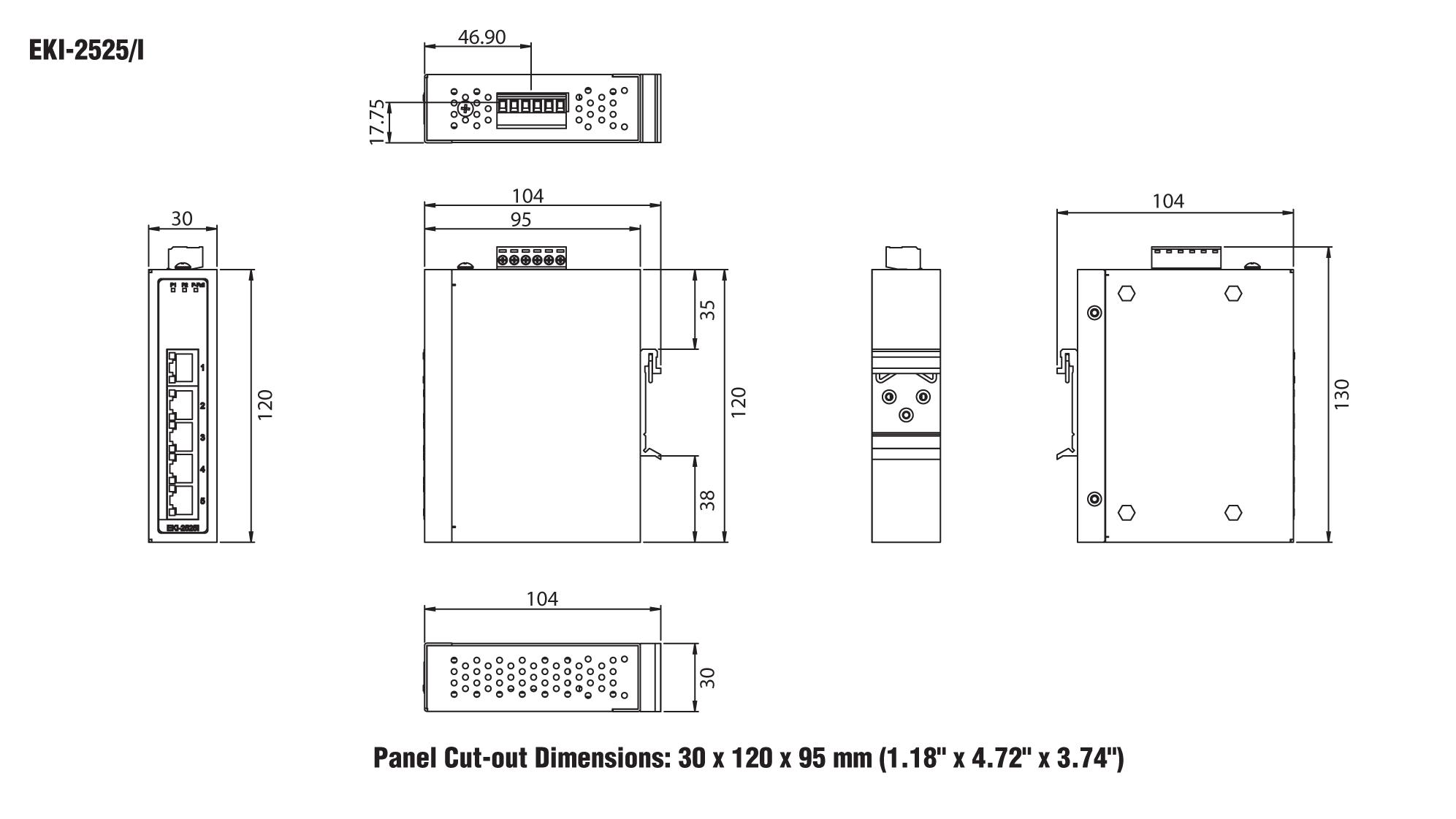 Advantech EKI-2525 serie, Unmanaged switch, 5 Port 1 | Producten | MCS