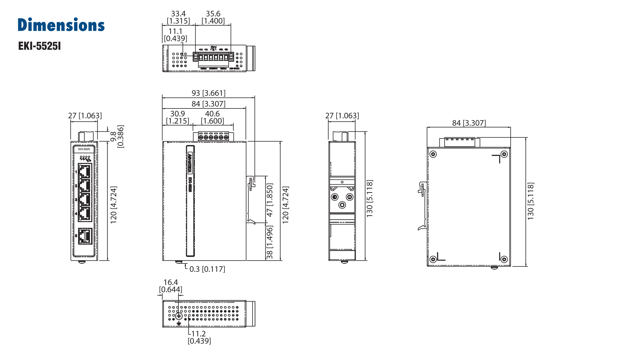 Advantech EKI-5525I Switch, 5 Port 10/100 (Monitored) | Producten | MCS