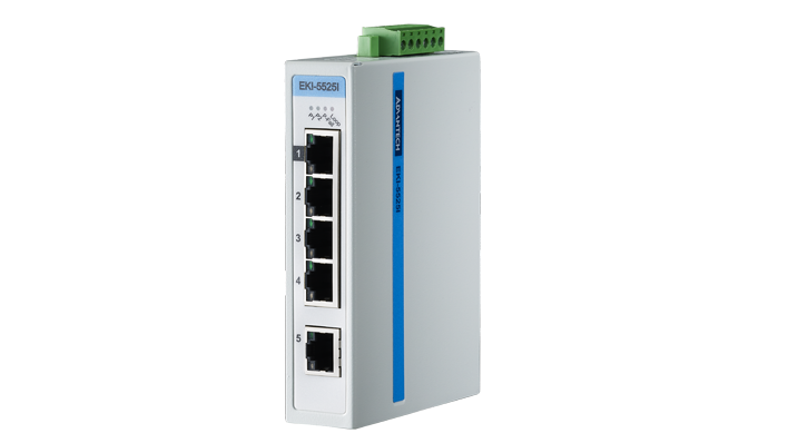Advantech EKI-5525I Switch, 5 Port 10/100 (Monitored) | Monitored switches | Product | MCS