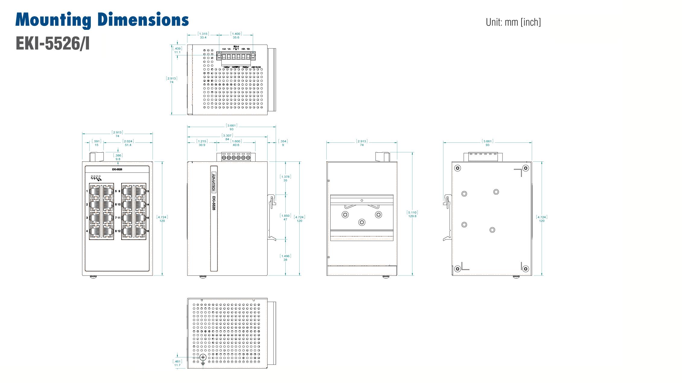 Advantech EKI-5526I Switch, 16 Port 10/100 (Monitored) | Producten | MCS