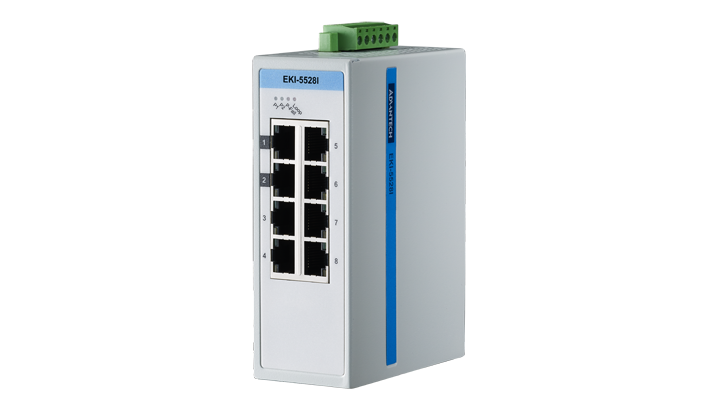Advantech EKI-5528I Switch, 8 Port 10/100 (Monitored) | Monitored switches | Product | MCS