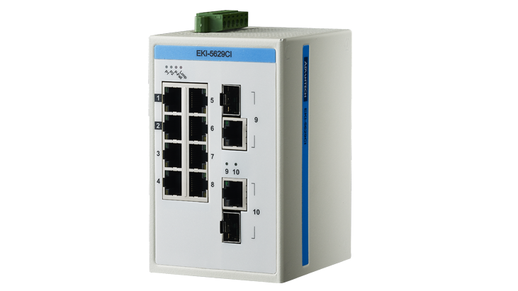 Advantech EKI-5629CI Switch, 8 Port 10/100 (Monitored) | Monitored switches | Product | MCS