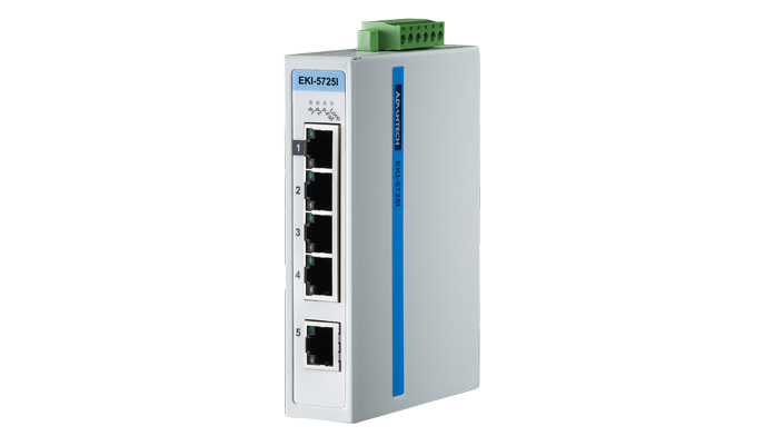 Advantech EKI-5725I, 5 Port 10/100/1000 (Monitored) | Monitored switches | Product | MCS