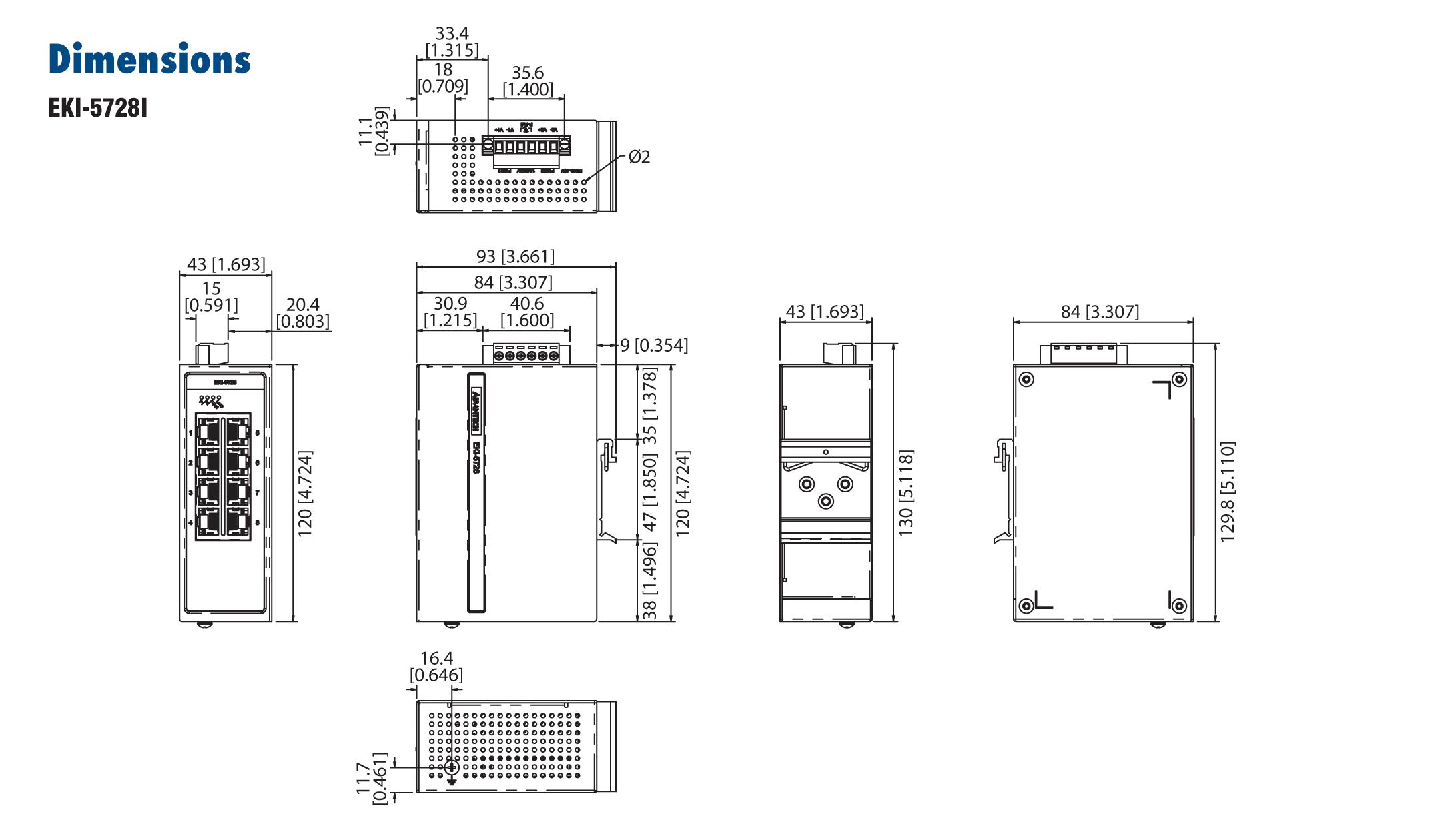 Advantech EKI-5728I, 8 Port 10/100/1000 (Monitored)   Producten   MCS