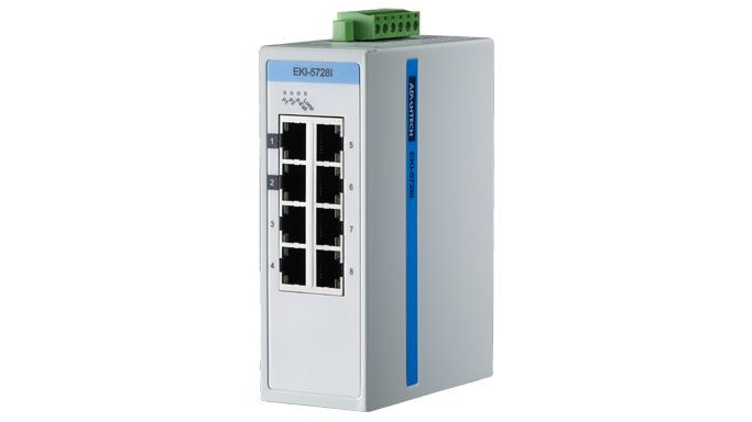 Advantech EKI-5728I, 8 Port 10/100/1000 (Monitored) | Monitored switches | Product | MCS