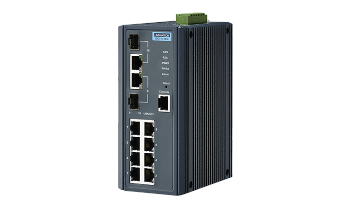 Advantech EKI-7710G-2CI, 8 Port 10/100/1000 (Managed) | Managed switches | Product | MCS