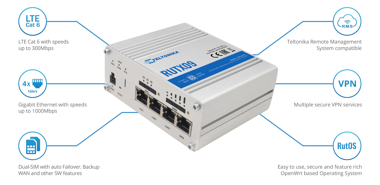 Teltonika RUTX09 CAT6 LTE router, dual SIM   Producten   MCS