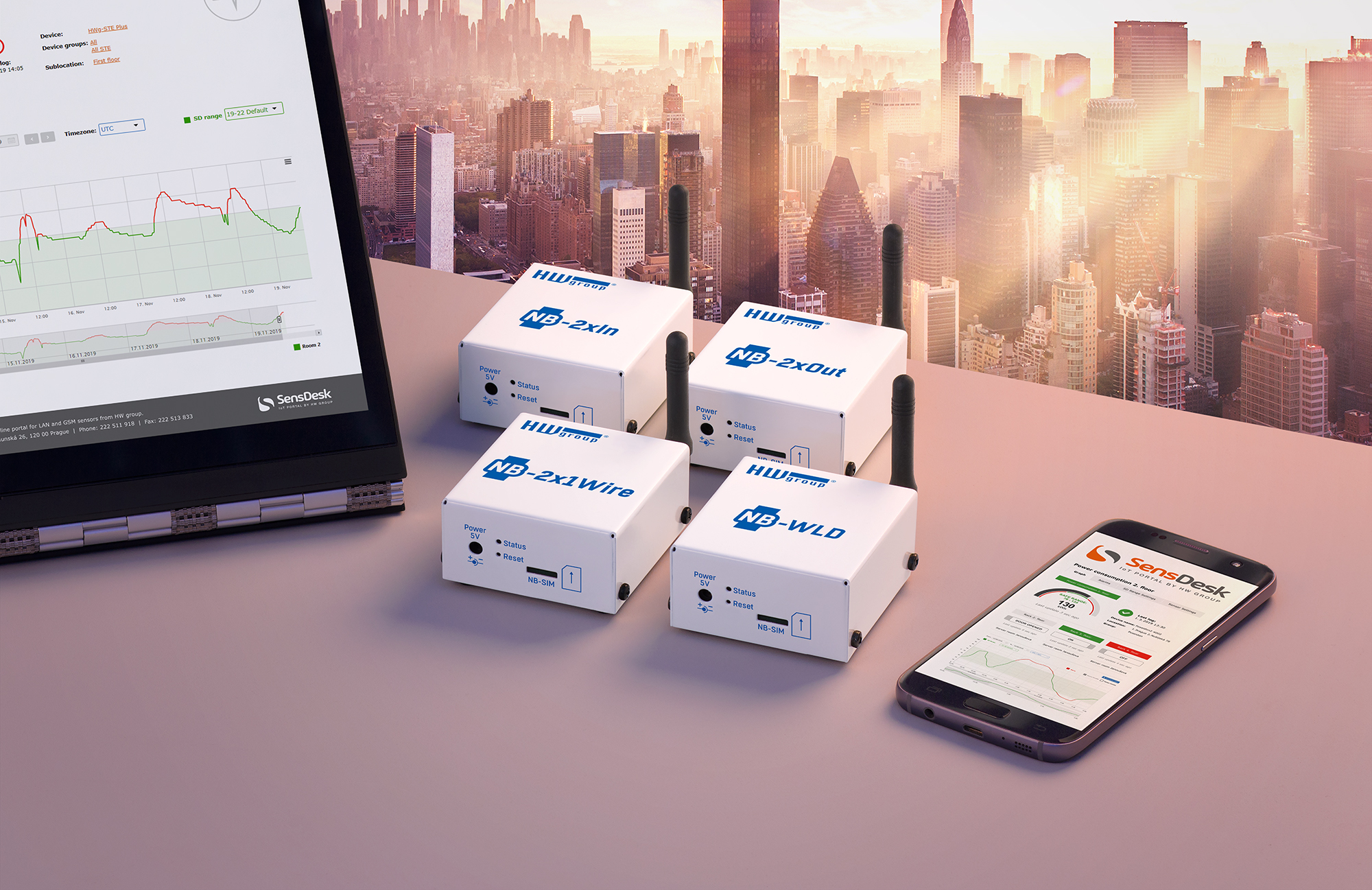 HWg NB 2x Out SensDesk Gateway incl NB-IoT SIM | Producten | MCS