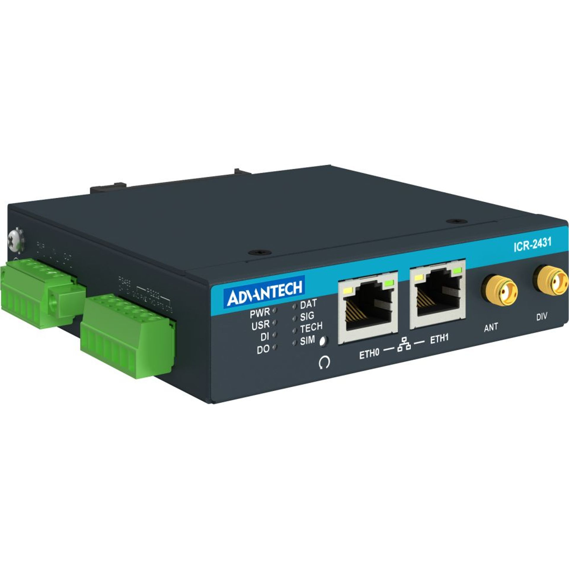 Advantech ICR-2431 LTE router, 2xSIM, 2x Eth, 1x RS232, 1x RS485, 1x i/o | 4G routers/gateways | Product | MCS